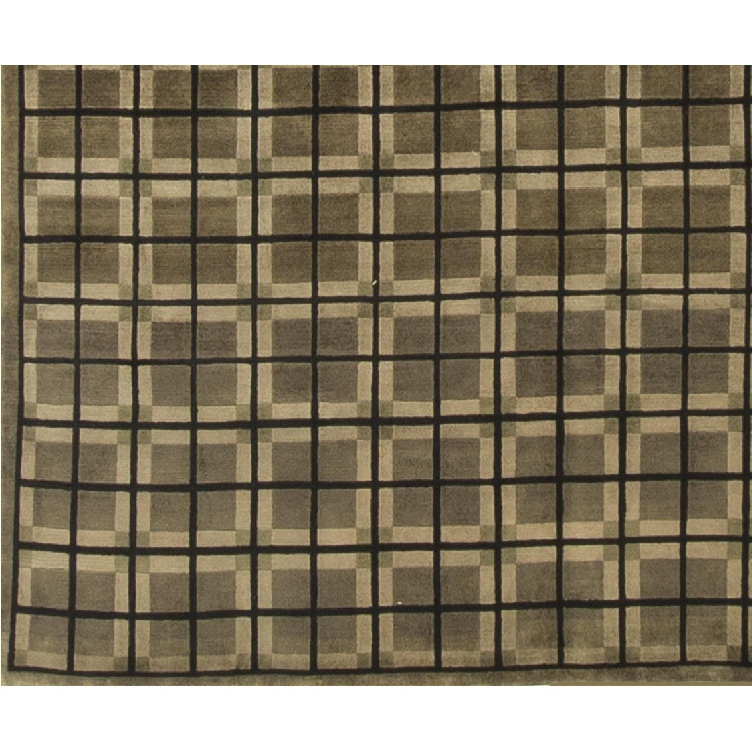 Modern Contemporary Hand Knotted Wool Rug in Green/Brown - image-2