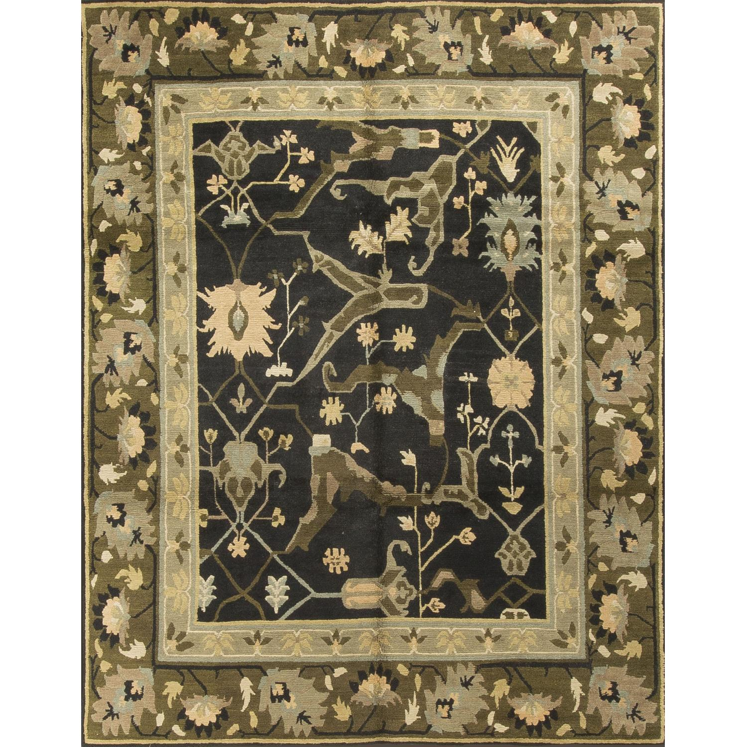 Modern Contemporary Hand Knotted Wool Rug in Black/Beige/Green - image-0