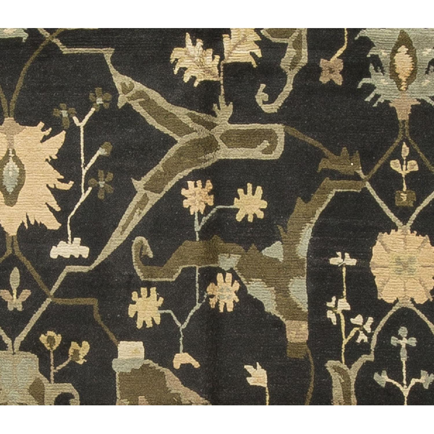 Modern Contemporary Hand Knotted Wool Rug in Black/Beige/Green - image-1