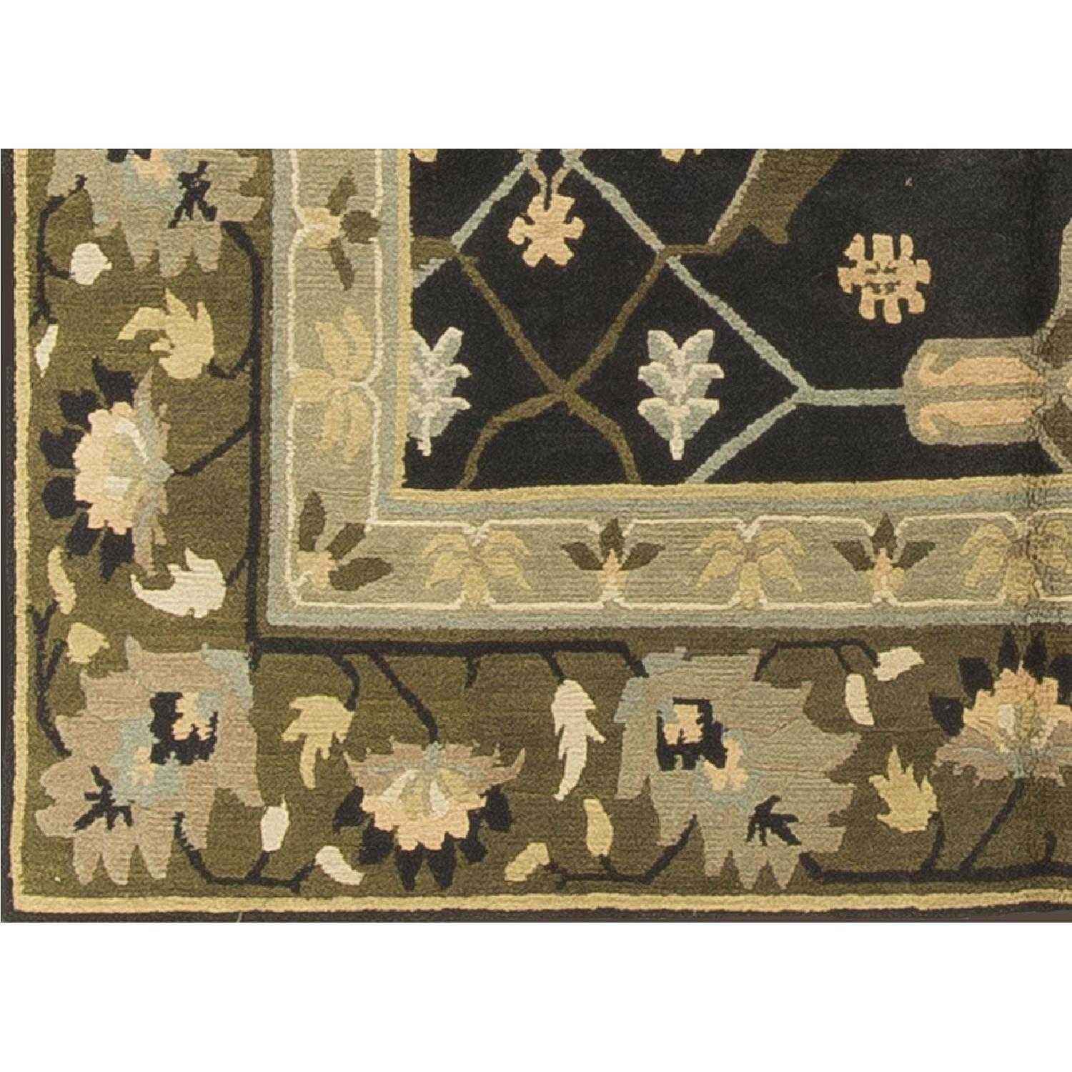 Modern Contemporary Hand Knotted Wool Rug in Black/Beige/Green - image-2
