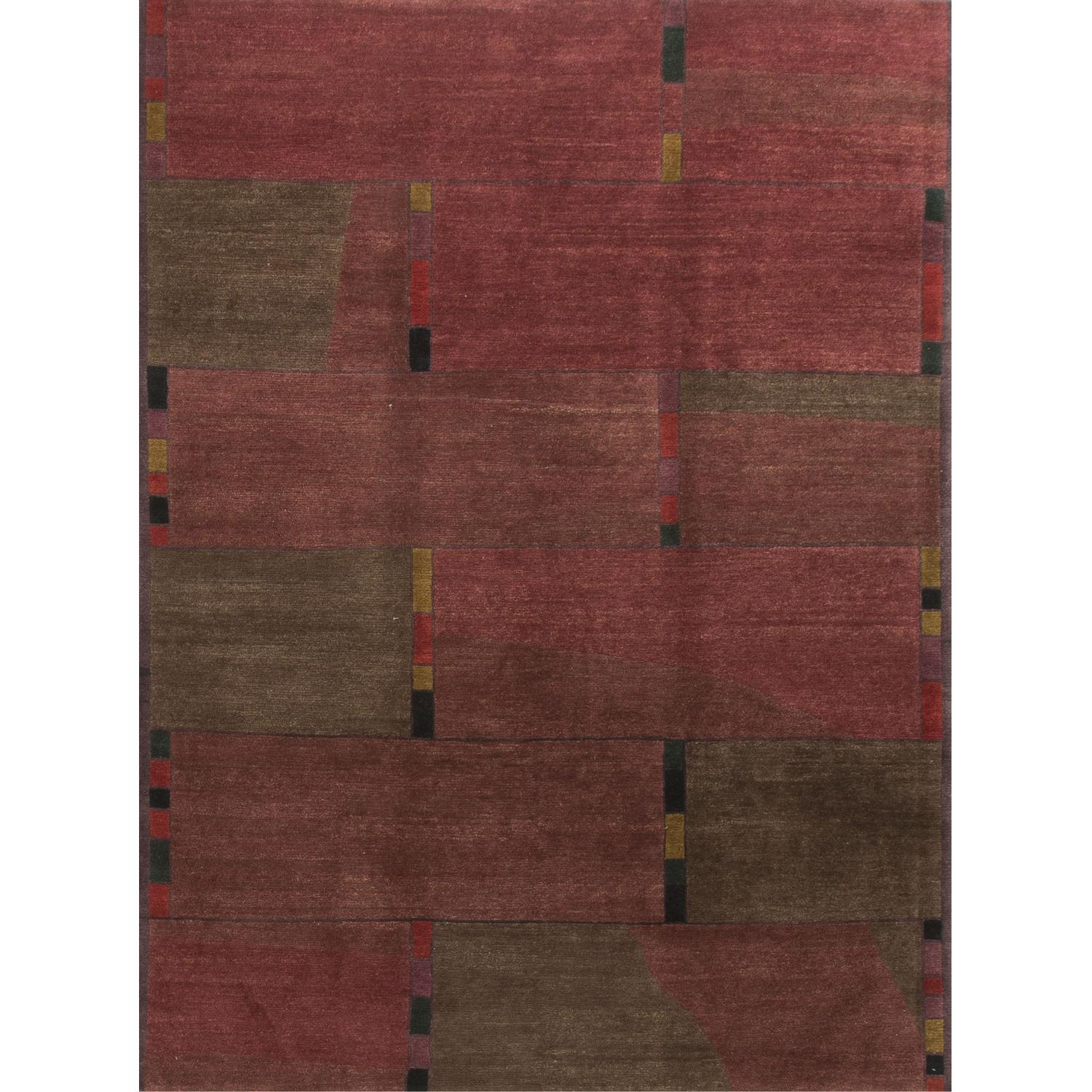 Modern Contemporary Hand Knotted Wool Rug in Red - image-0