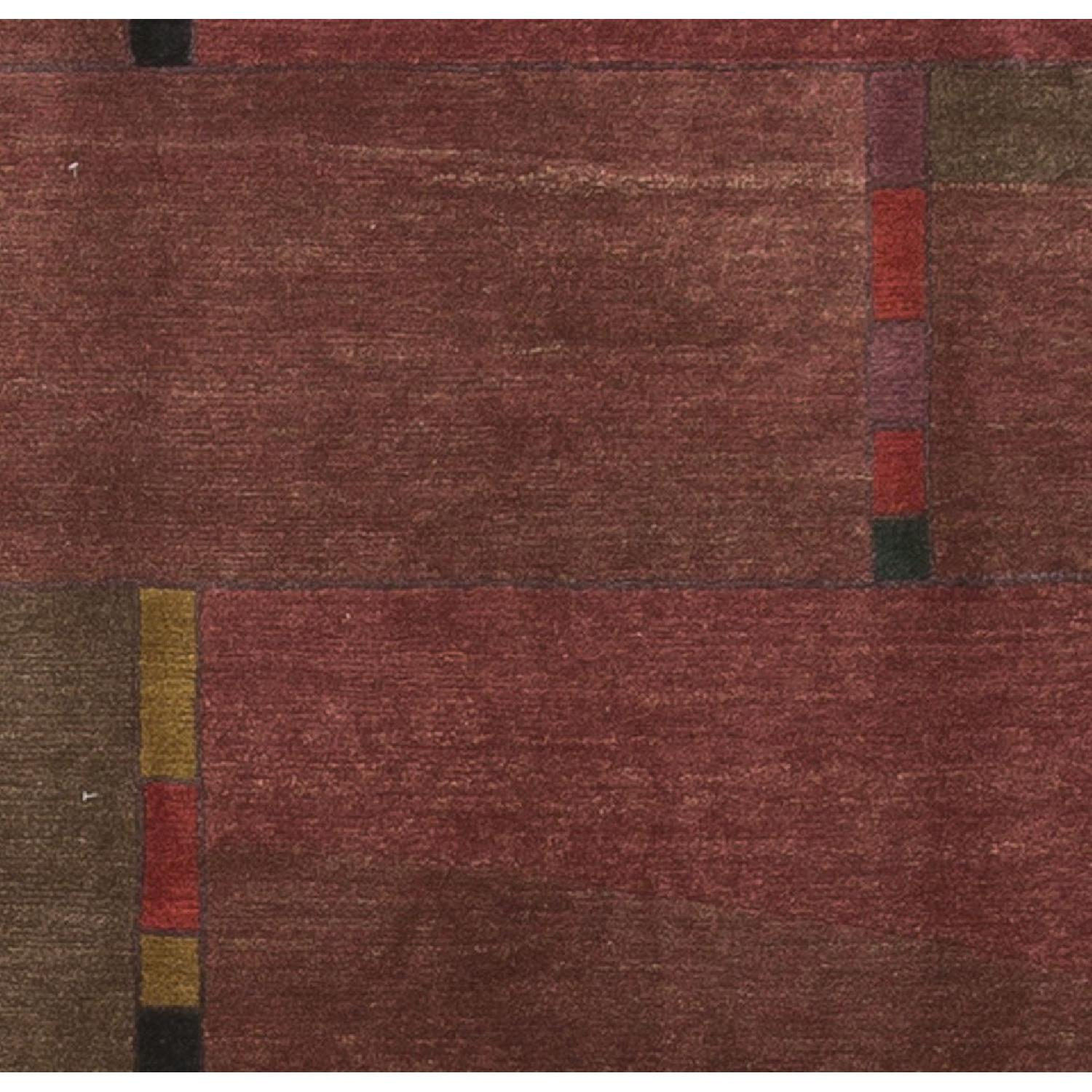 Modern Contemporary Hand Knotted Wool Rug in Red - image-1