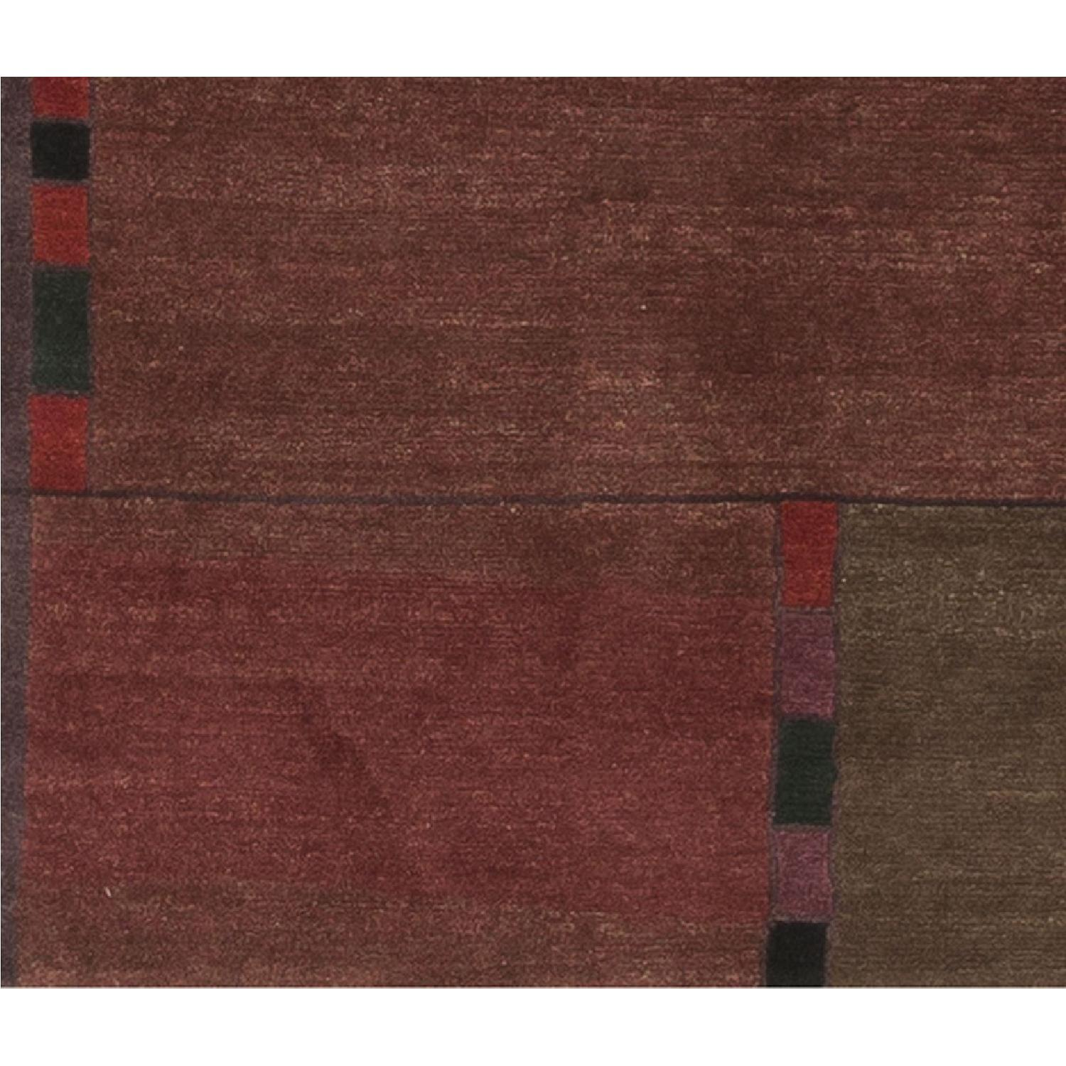 Modern Contemporary Hand Knotted Wool Rug in Red - image-2