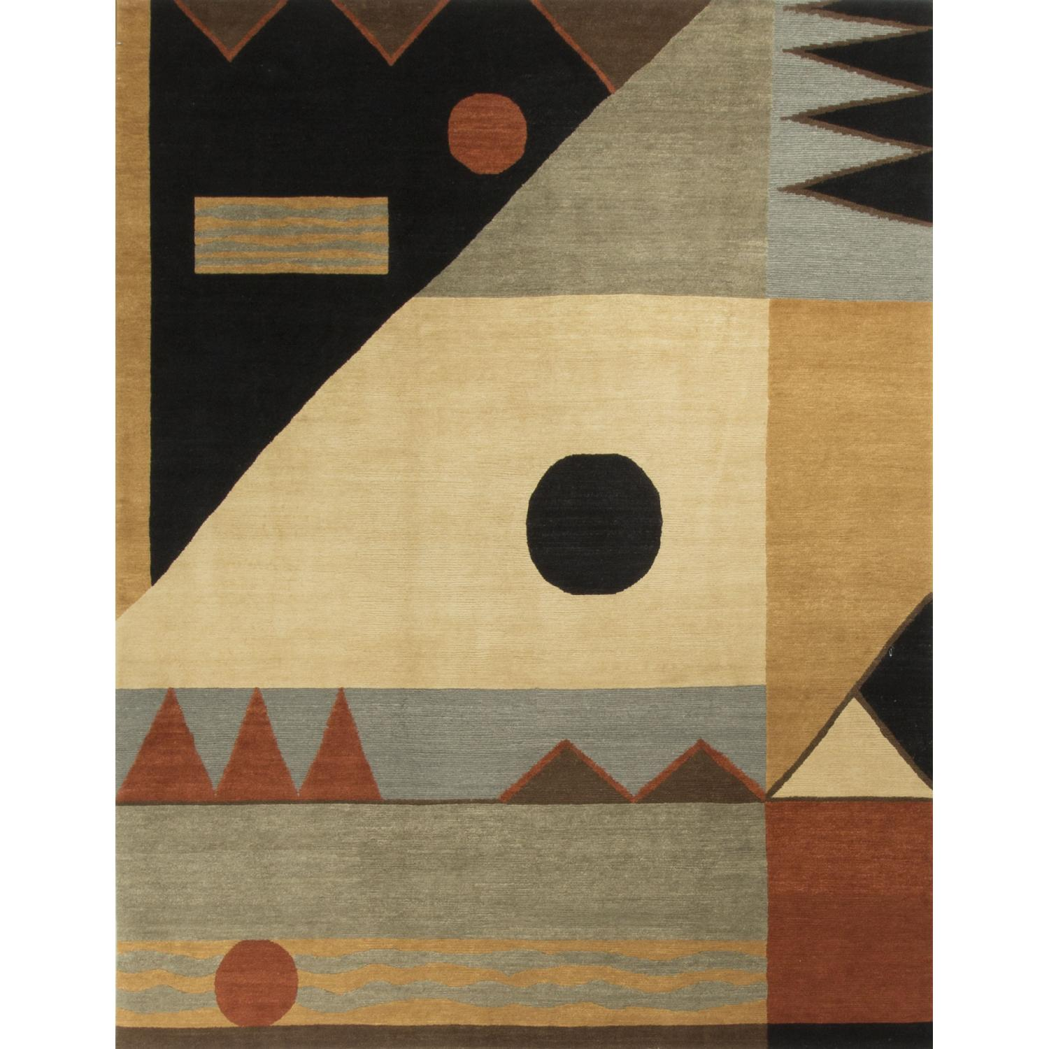 Modern Contemporary Hand Knotted Wool Rug in Beige/Black/Red - image-0