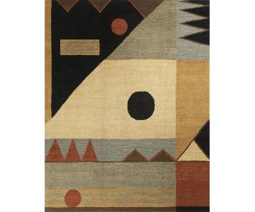 Modern Contemporary Hand Knotted Wool Rug in Beige/Black/Red