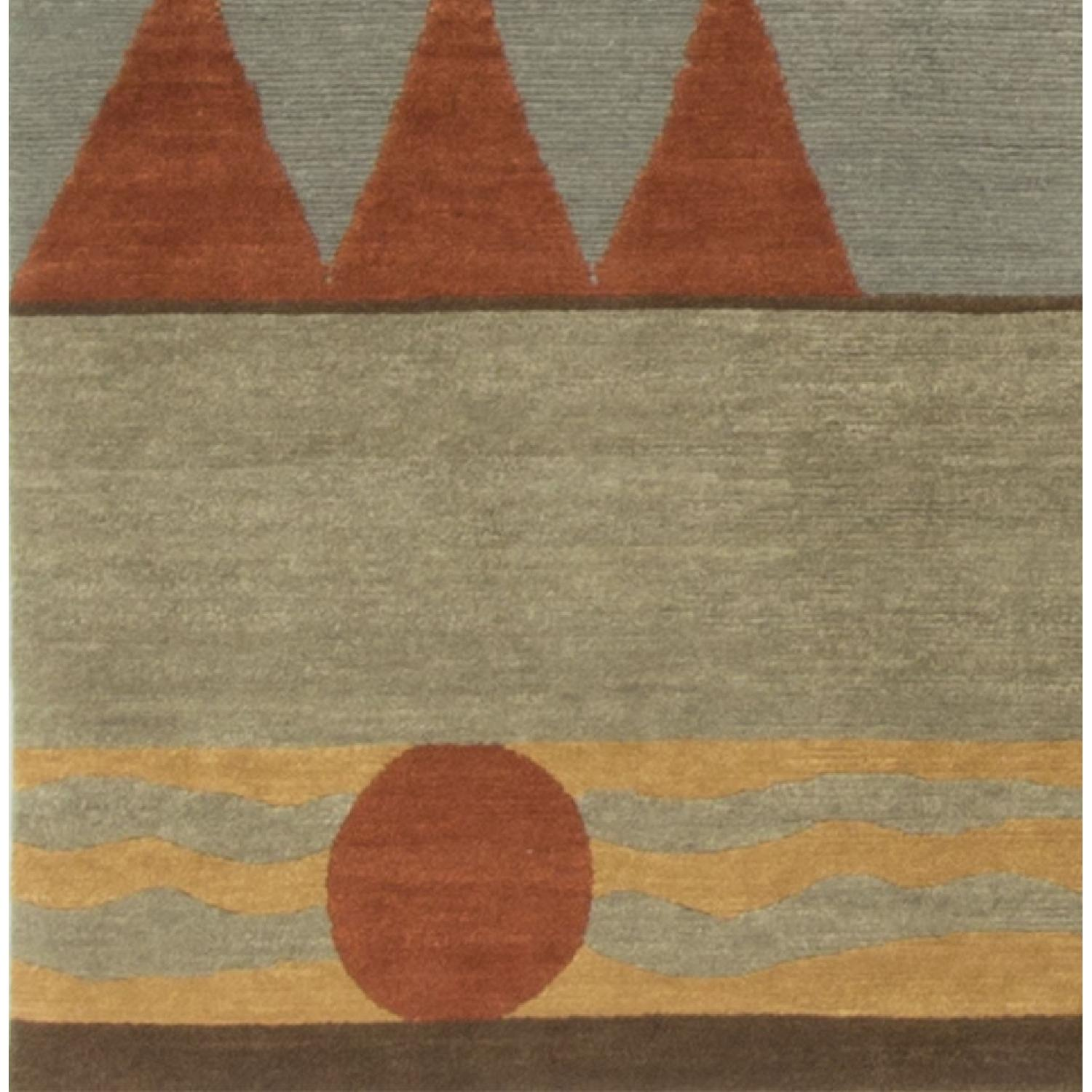 Modern Contemporary Hand Knotted Wool Rug in Beige/Black/Red - image-2