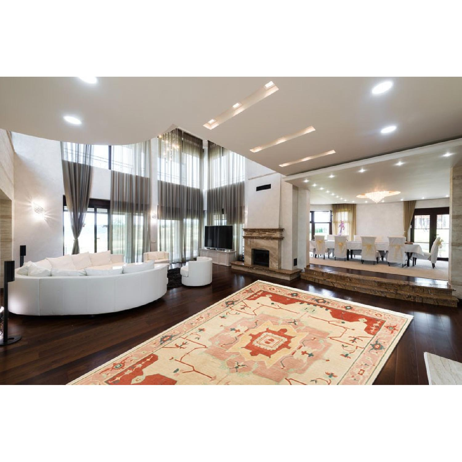 Modern Contemporary Hand Knotted Wool Rug in Red/Beige - image-1
