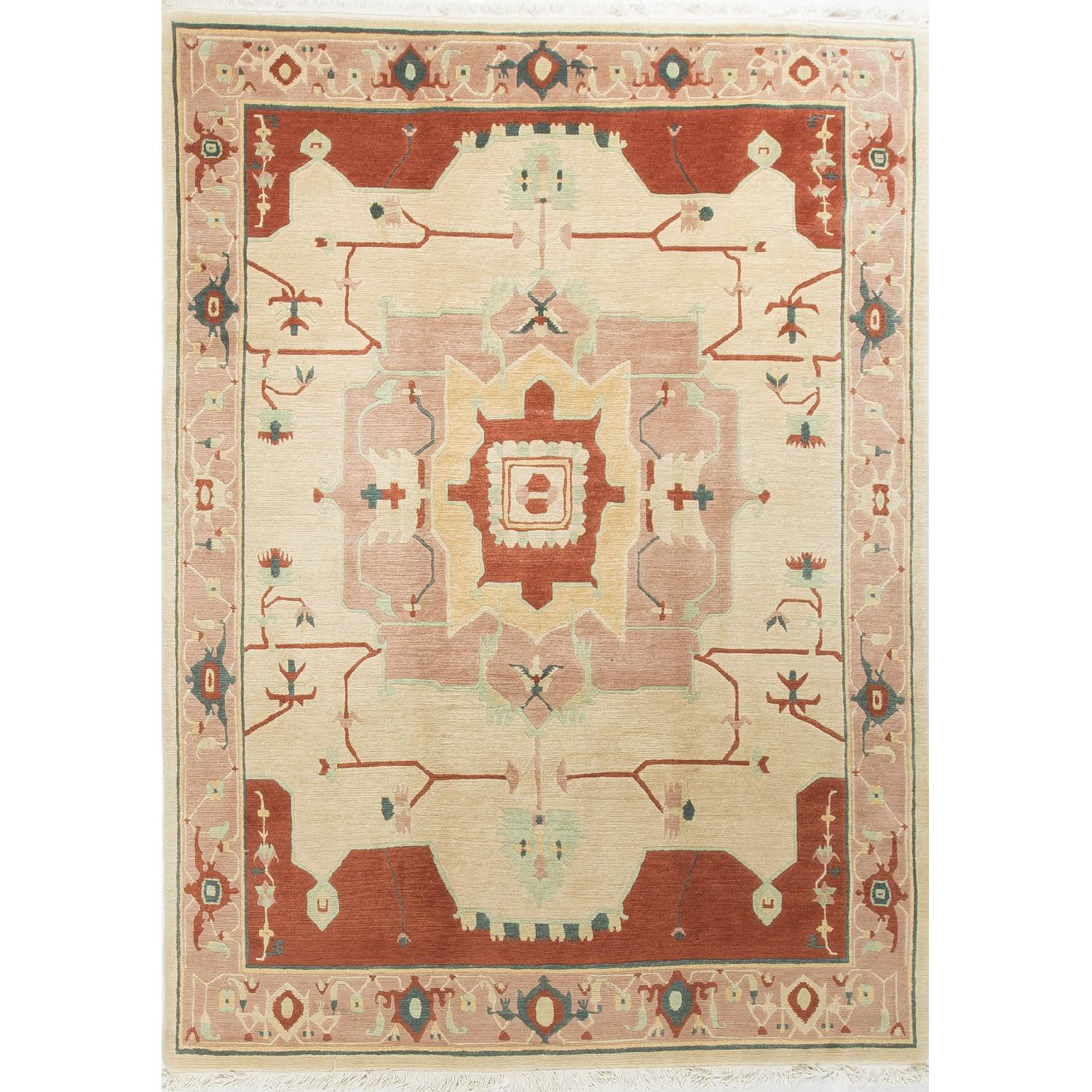 Modern Contemporary Hand Knotted Wool Rug in Red/Beige - image-0