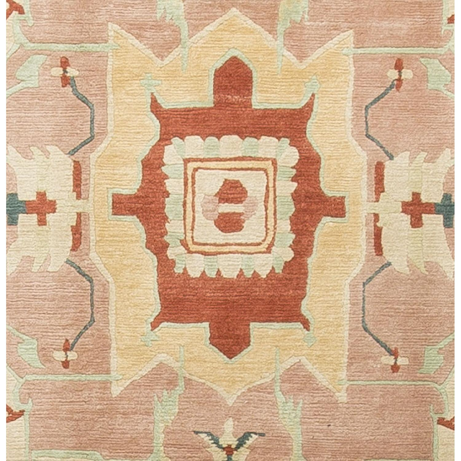 Modern Contemporary Hand Knotted Wool Rug in Red/Beige - image-2