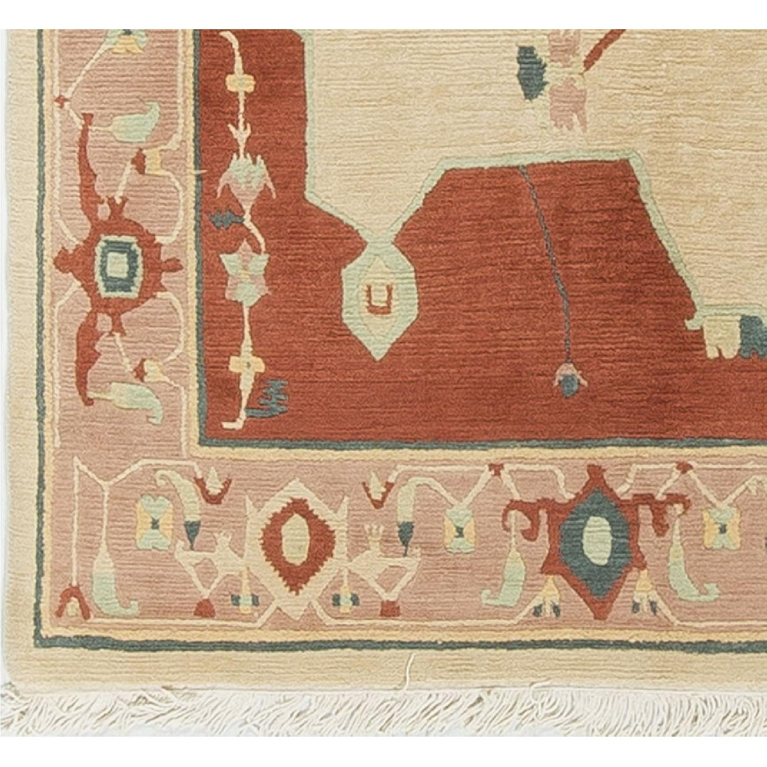 Modern Contemporary Hand Knotted Wool Rug in Red/Beige - image-3