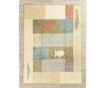 Modern Contemporary Hand Knotted Wool Rug in Beige/Multi