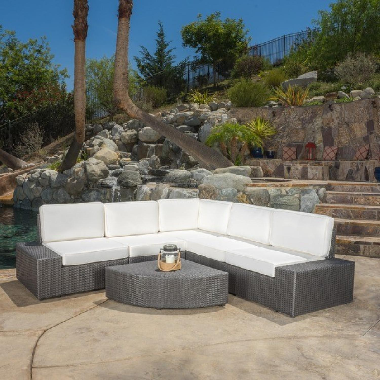 Christopher Knight Home Santa Cruz Outdoor Grey Wicker Armless Chair & Table - image-1
