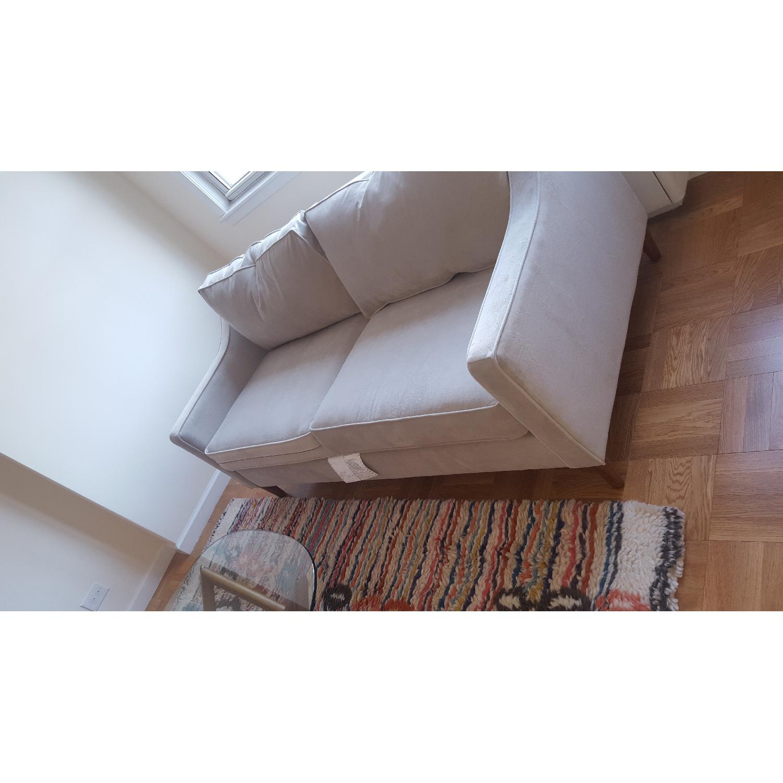 West Elm Blue Velvet Sofa - image-2