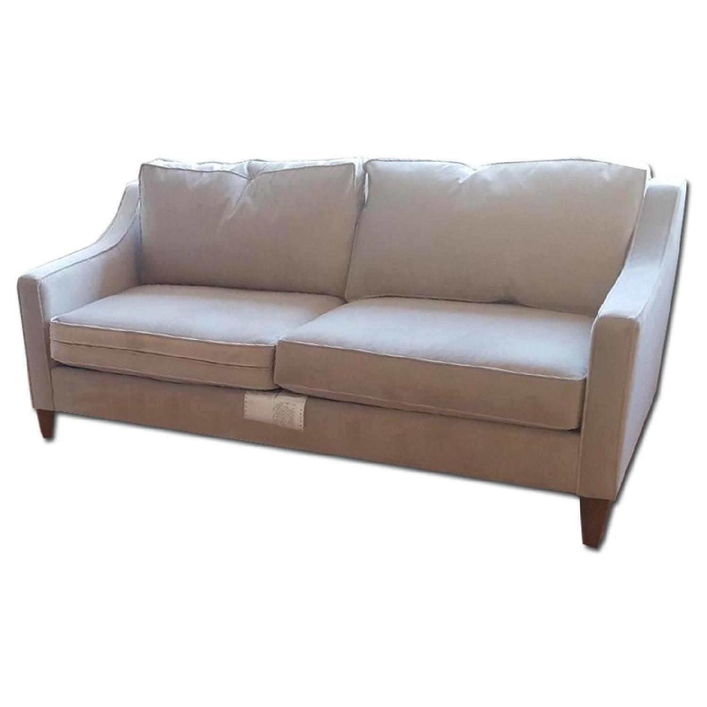 West Elm Blue Velvet Sofa - image-0