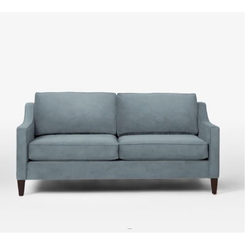 West Elm Blue Velvet Sofa - image-5
