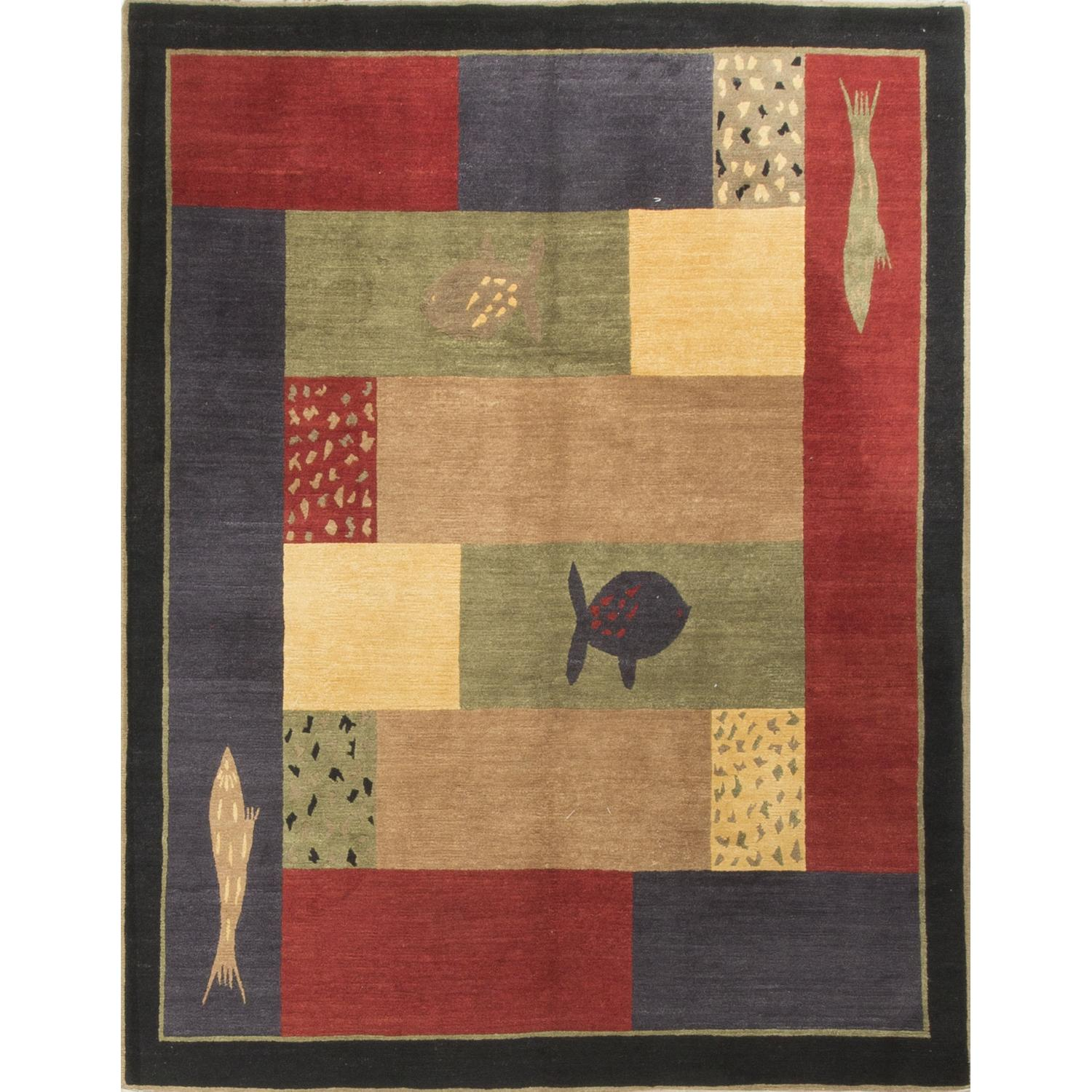 Modern Contemporary Hand Knotted Wool Rug in Gold/Red/Beige/ - image-0