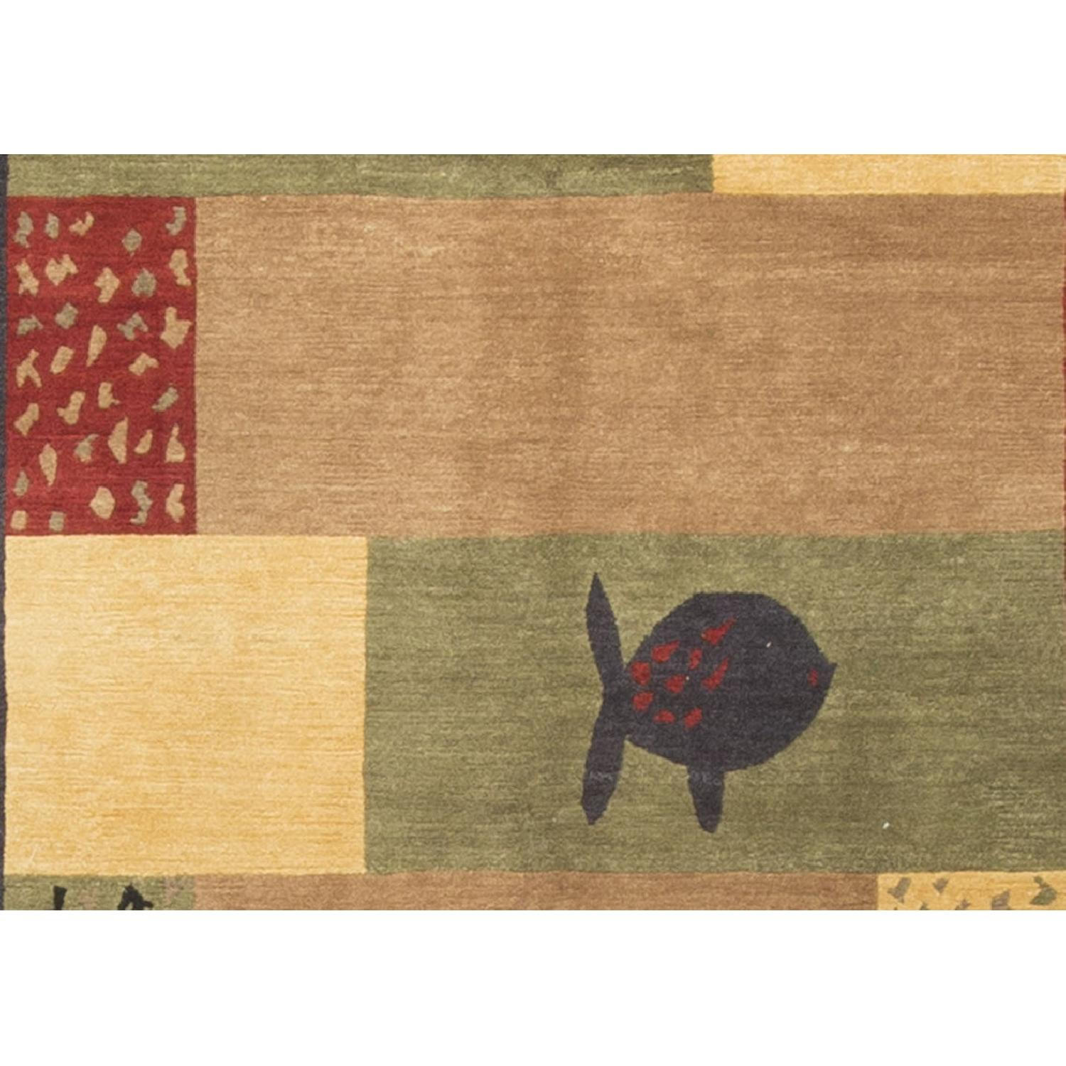Modern Contemporary Hand Knotted Wool Rug in Gold/Red/Beige/ - image-1