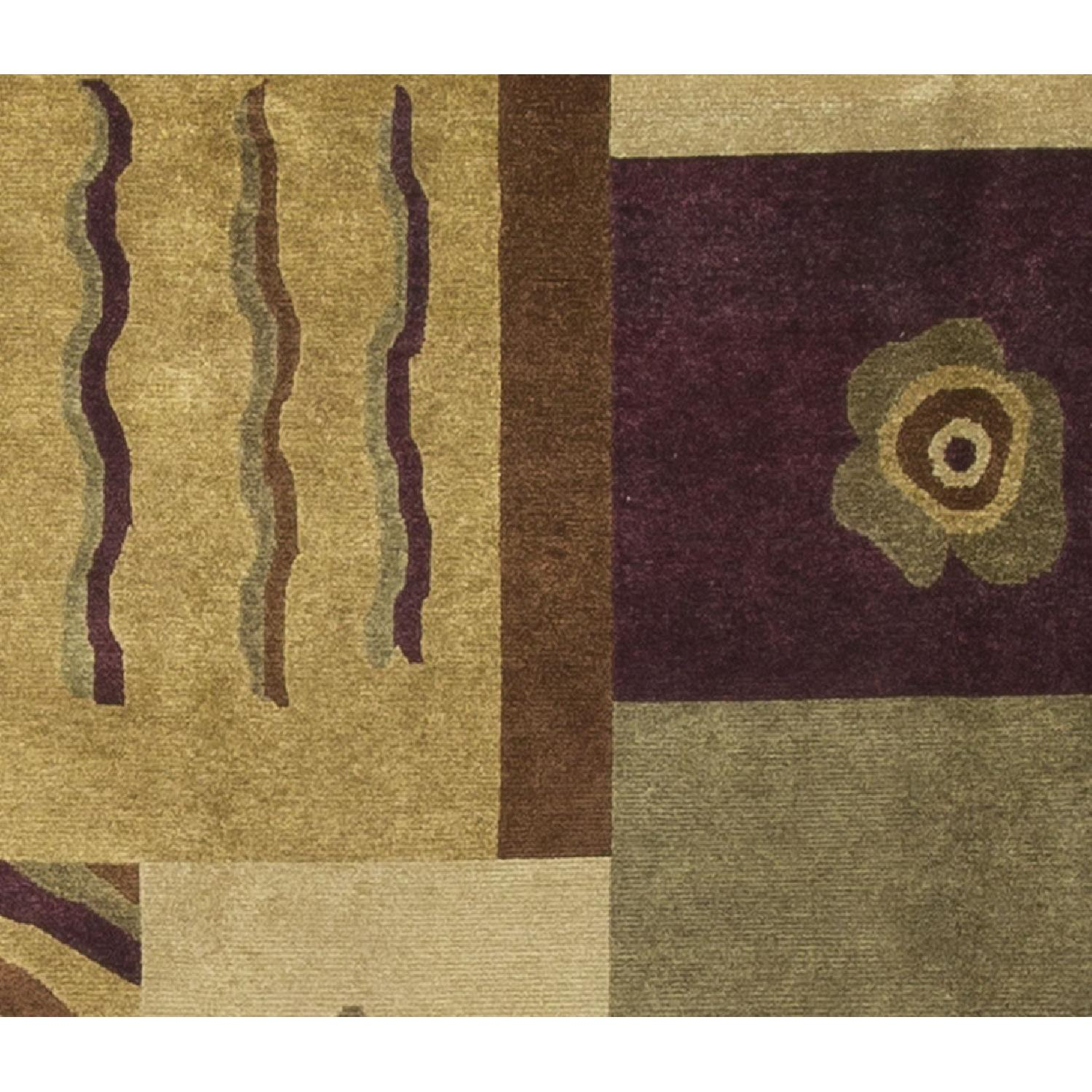 Modern Contemporary Hand Knotted Wool Rug in Beige/Multi - image-1