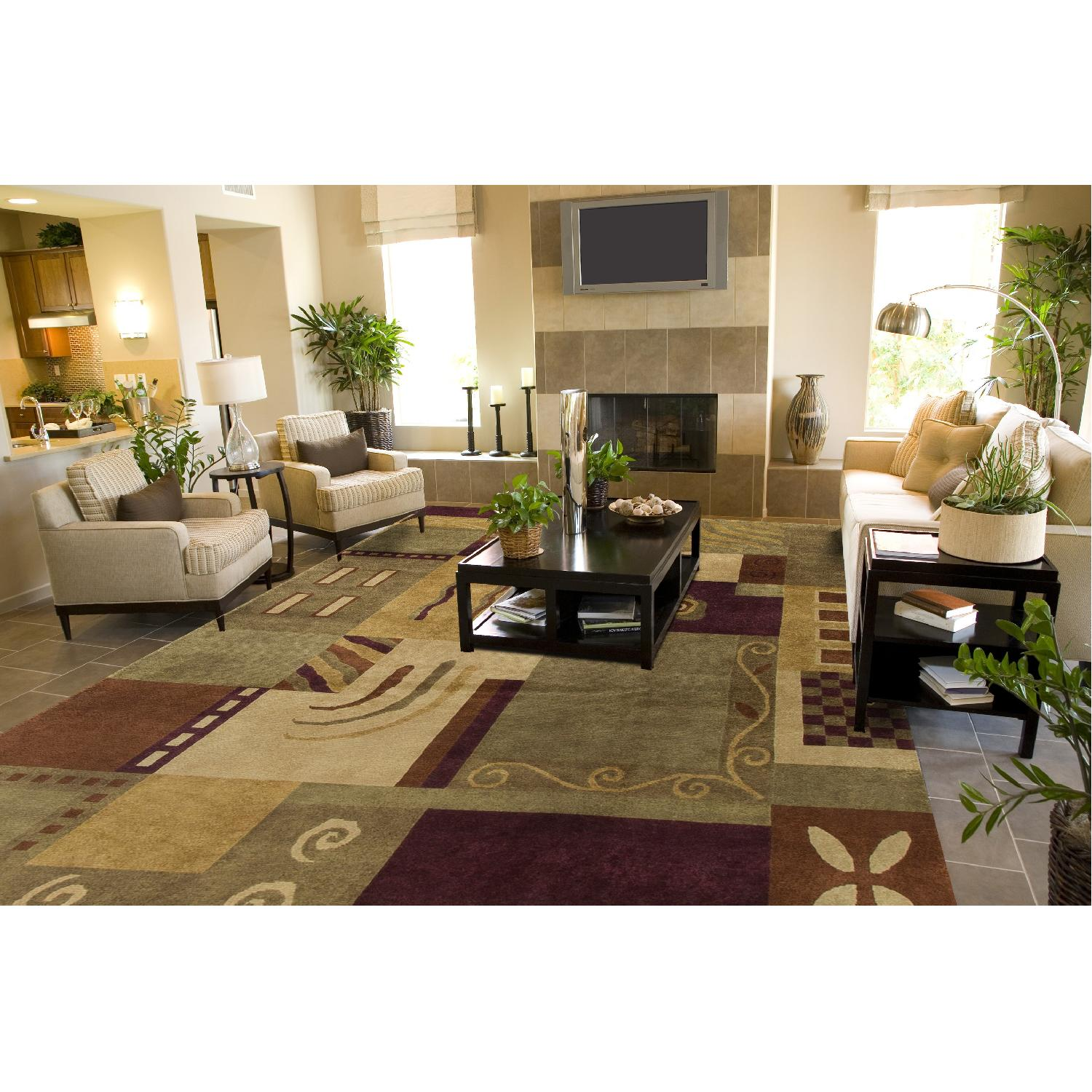 Modern Contemporary Hand Knotted Wool Rug in Beige/Multi - image-3