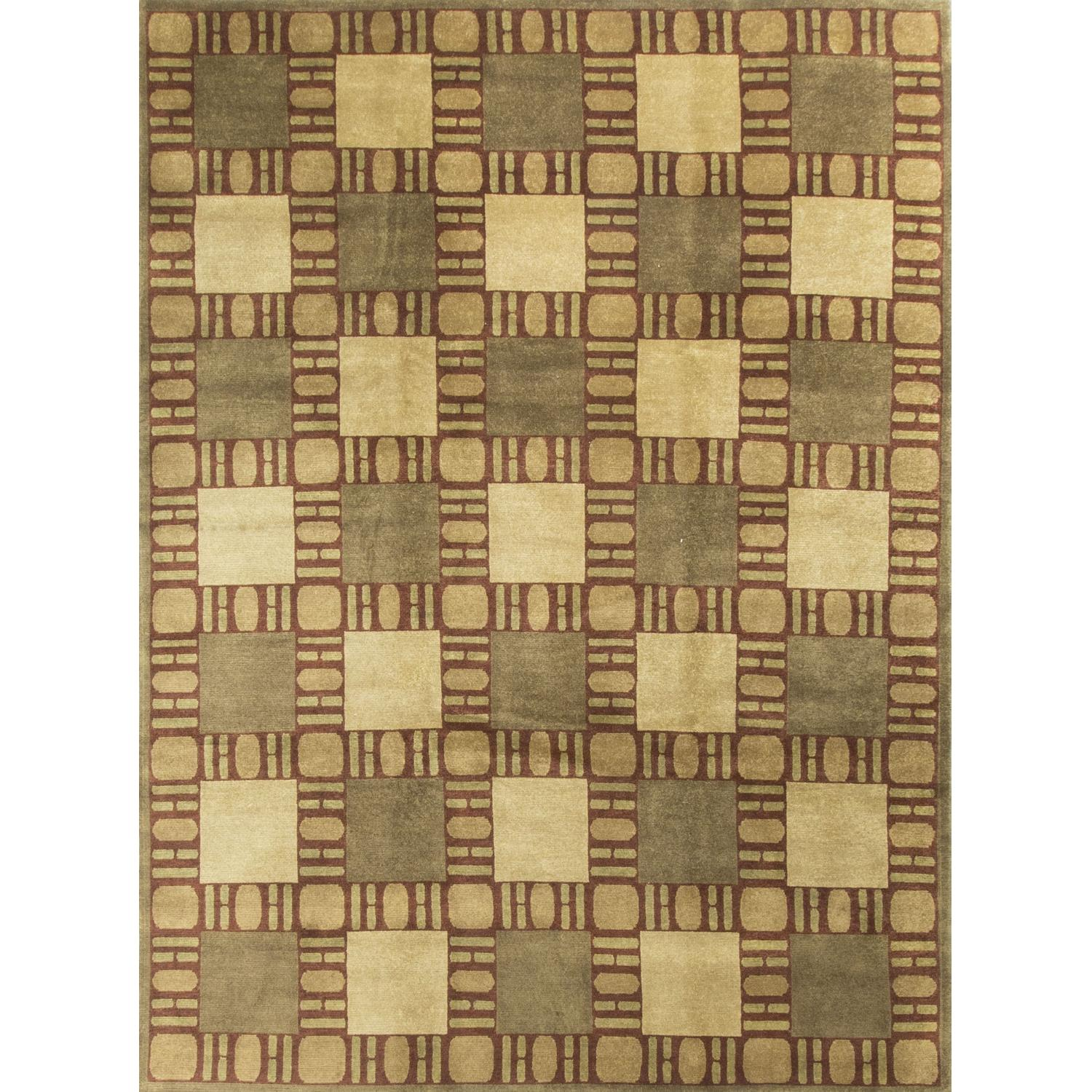 Modern Contemporary Hand Knotted Wool Rug in Brown/Red/Beige - image-0