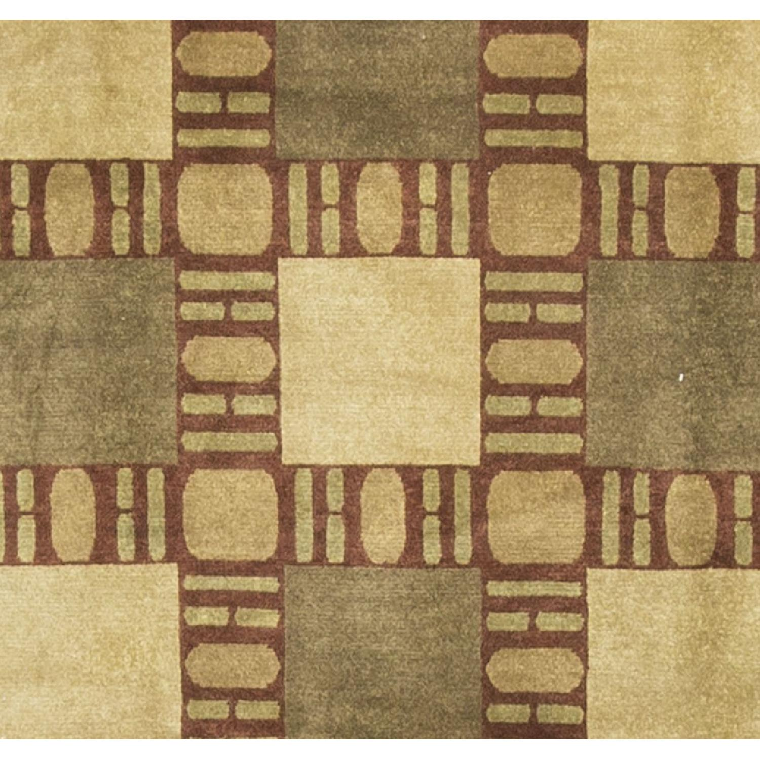 Modern Contemporary Hand Knotted Wool Rug in Brown/Red/Beige - image-1