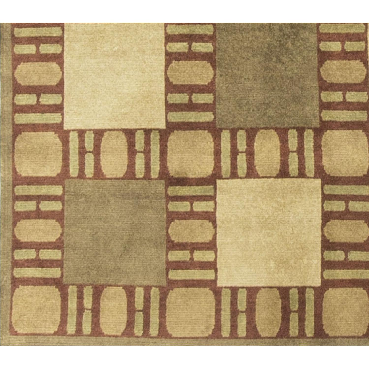 Modern Contemporary Hand Knotted Wool Rug in Brown/Red/Beige - image-2