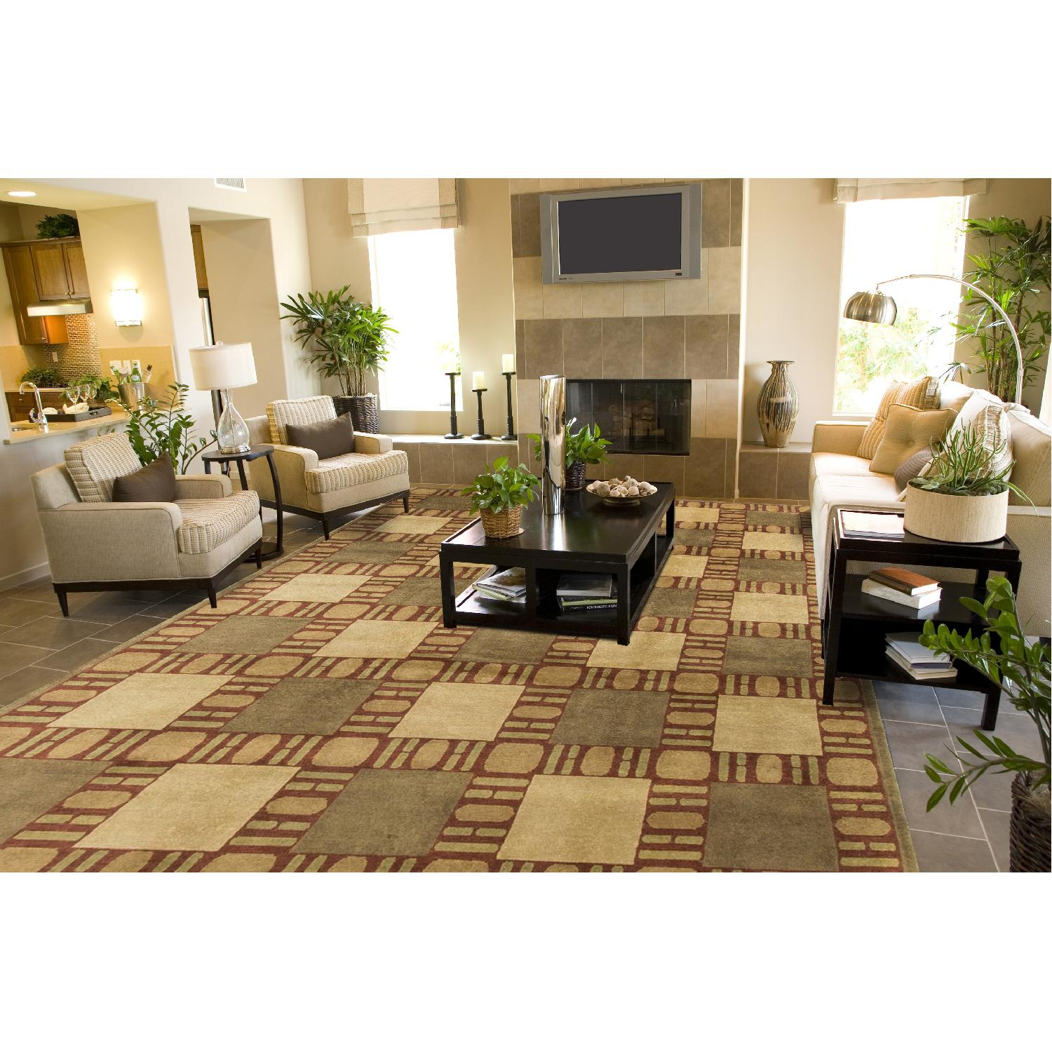 Modern Contemporary Hand Knotted Wool Rug in Brown/Red/Beige - image-3