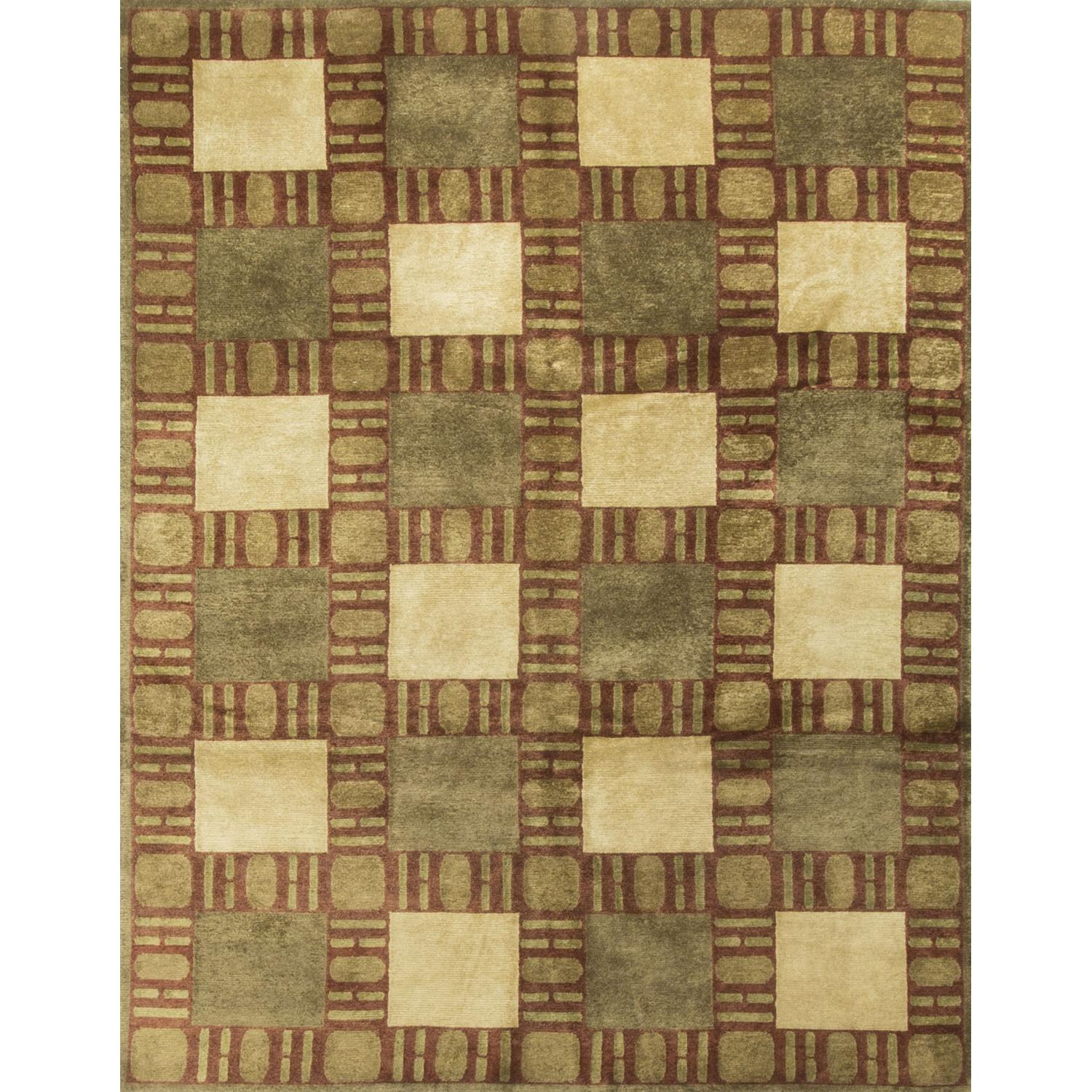 Modern Contemporary Hand Knotted Wool Rug in Gold/Red/Beige - image-0