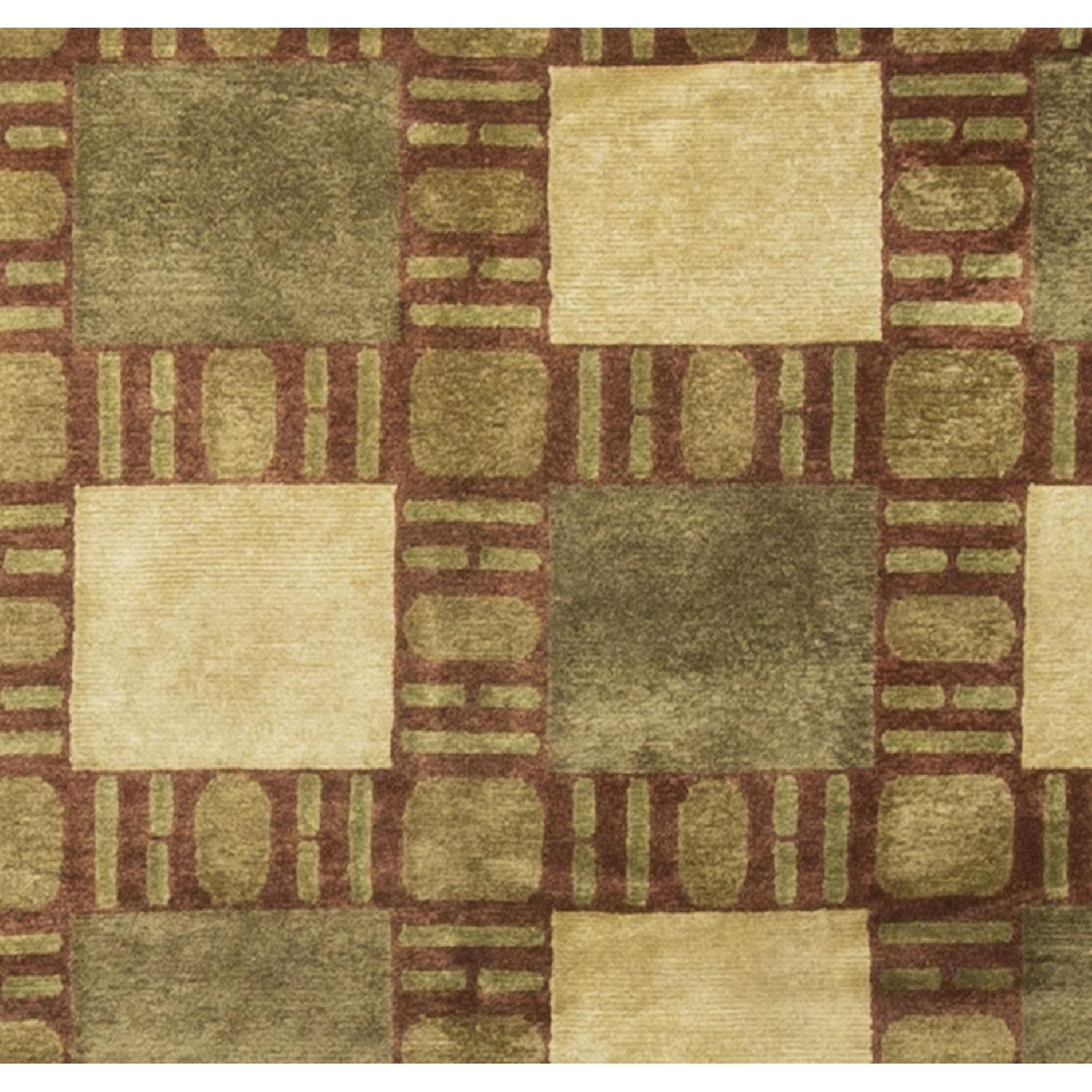 Modern Contemporary Hand Knotted Wool Rug in Gold/Red/Beige - image-1