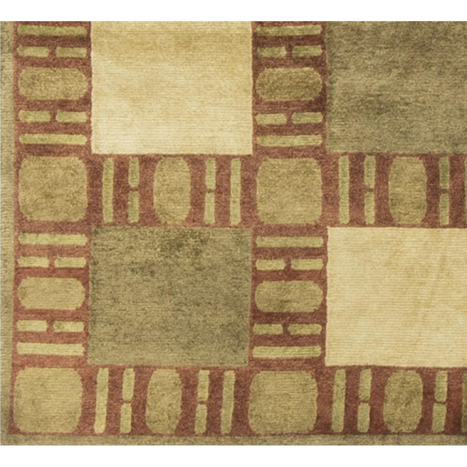 Modern Contemporary Hand Knotted Wool Rug in Gold/Red/Beige - image-2