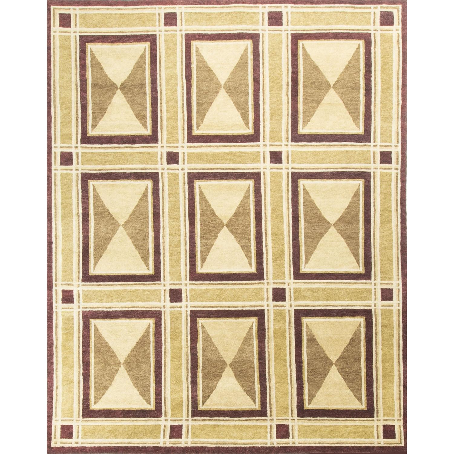 Modern Contemporary Hand Knotted Wool Rug in Red/Beige/Brown - image-0
