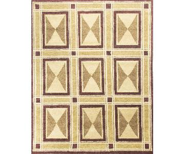 Modern Contemporary Hand Knotted Wool Rug in Red/Beige/Brown