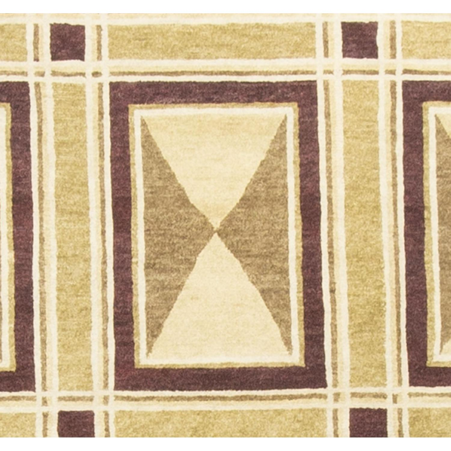 Modern Contemporary Hand Knotted Wool Rug in Red/Beige/Brown - image-1