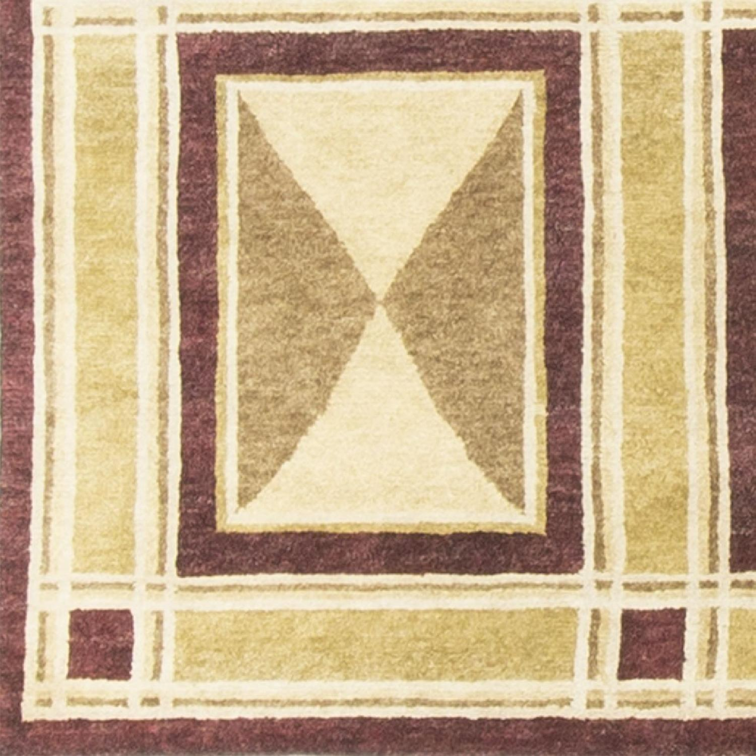 Modern Contemporary Hand Knotted Wool Rug in Red/Beige/Brown - image-2