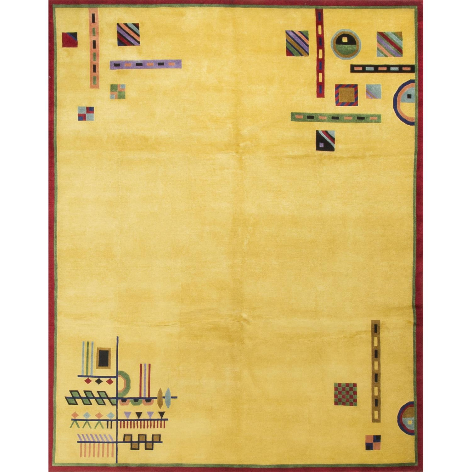 Modern Contemporary Hand Knotted Wool Rug in Gold - image-0