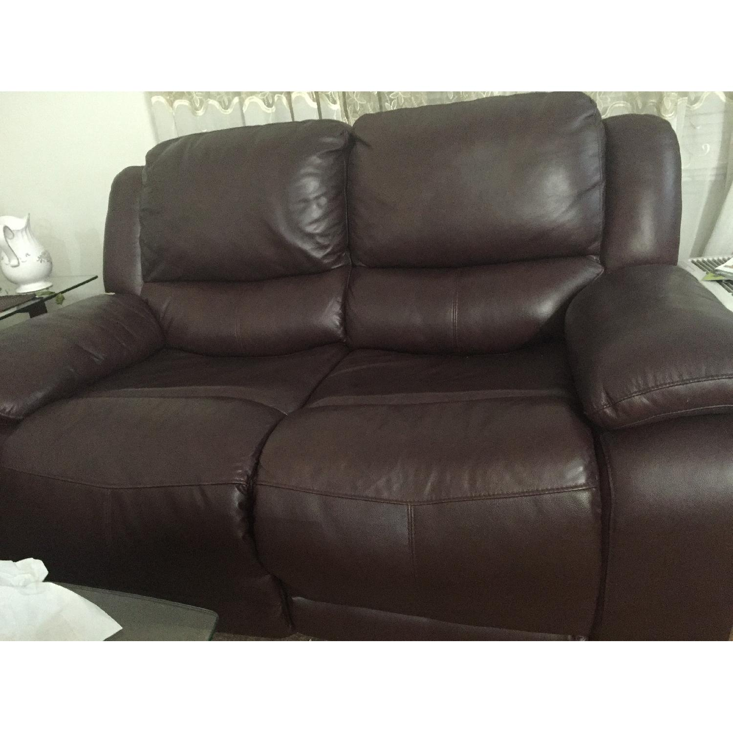 Brown Leather Loveseat - image-1