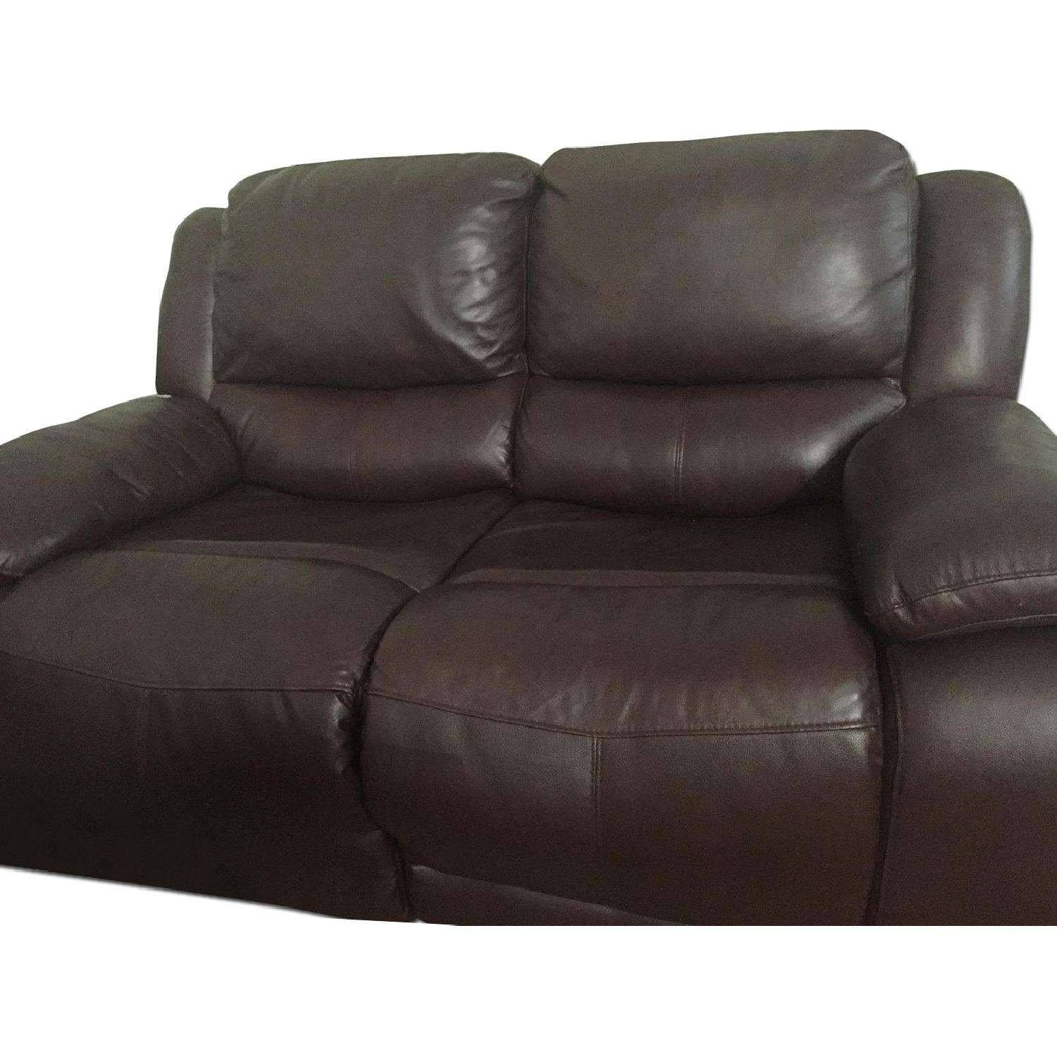 Brown Leather Loveseat - image-0