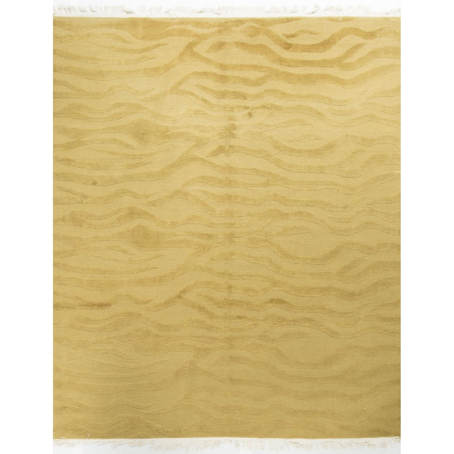 Modern Contemporary Hand Knotted Rug in Gold - image-0