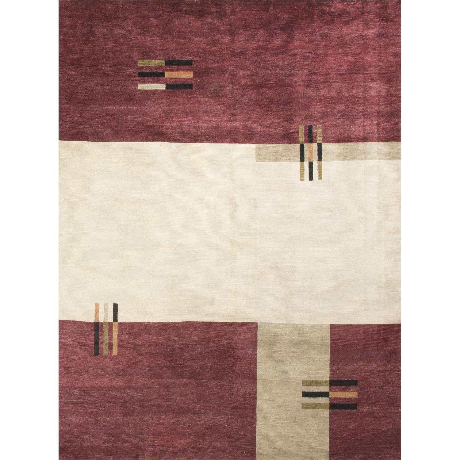 Modern Contemporary Hand Knotted Wool Rug in Red/Ivory - image-0