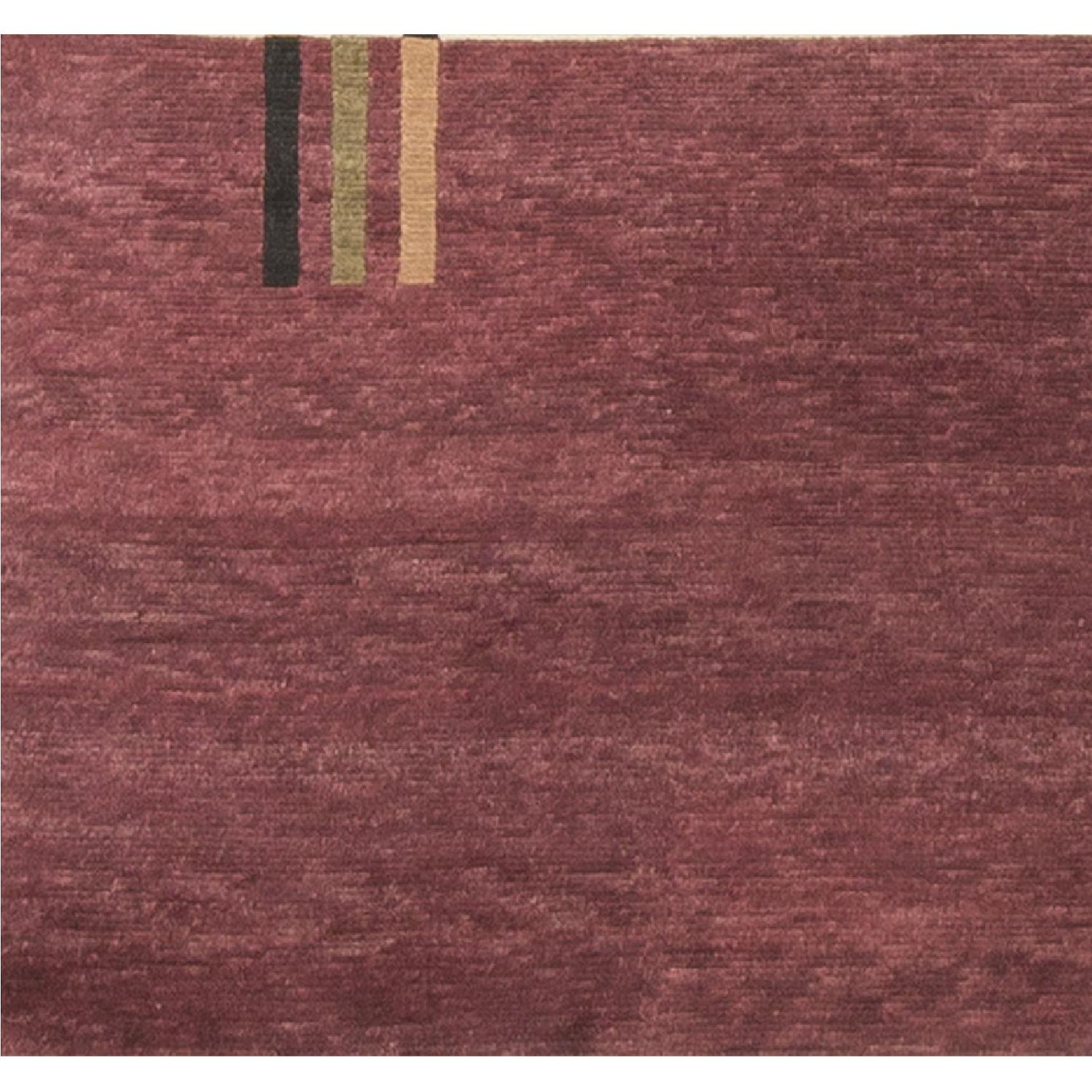 Modern Contemporary Hand Knotted Wool Rug in Red/Ivory - image-3