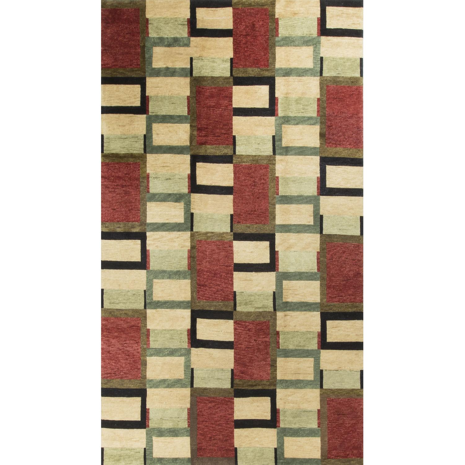 Modern Contemporary Hand Knotted Wool Rug in Red/Black/Beige - image-0
