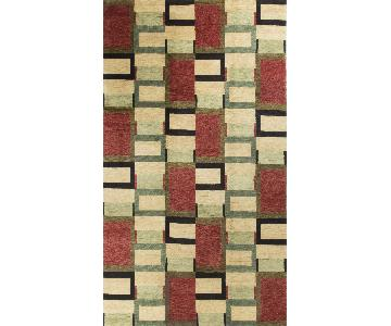 Modern Contemporary Hand Knotted Wool Rug in Red/Black/Beige