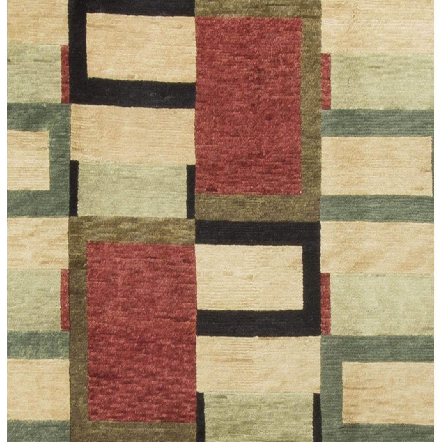 Modern Contemporary Hand Knotted Wool Rug in Red/Black/Beige - image-2