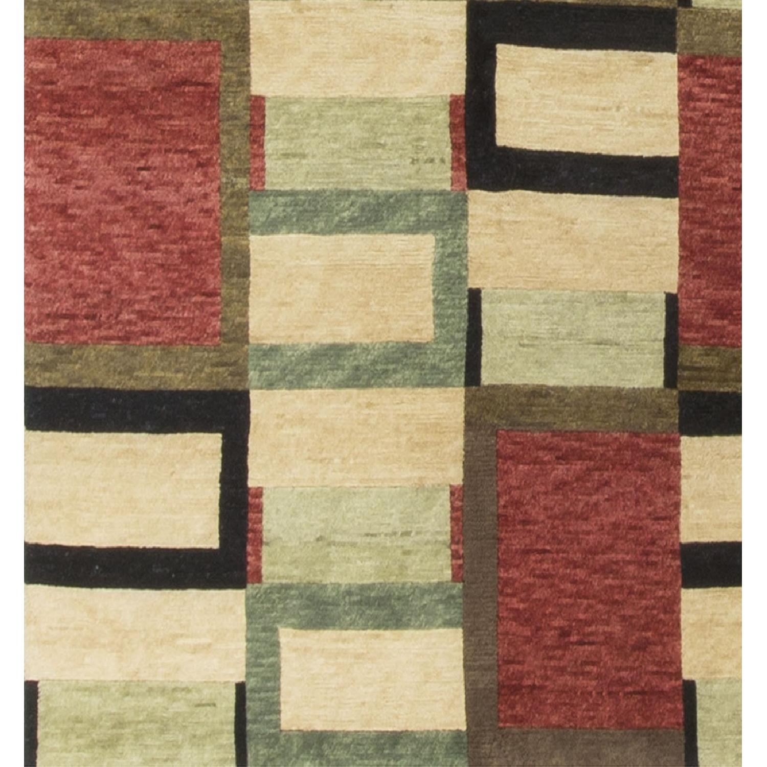 Modern Contemporary Hand Knotted Wool Rug in Red/Black/Beige - image-3