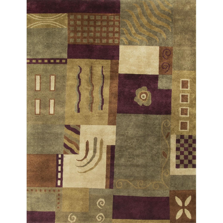 Modern Contemporary Hand Knotted Wool Rug in Beige/Brown/Dark - image-0
