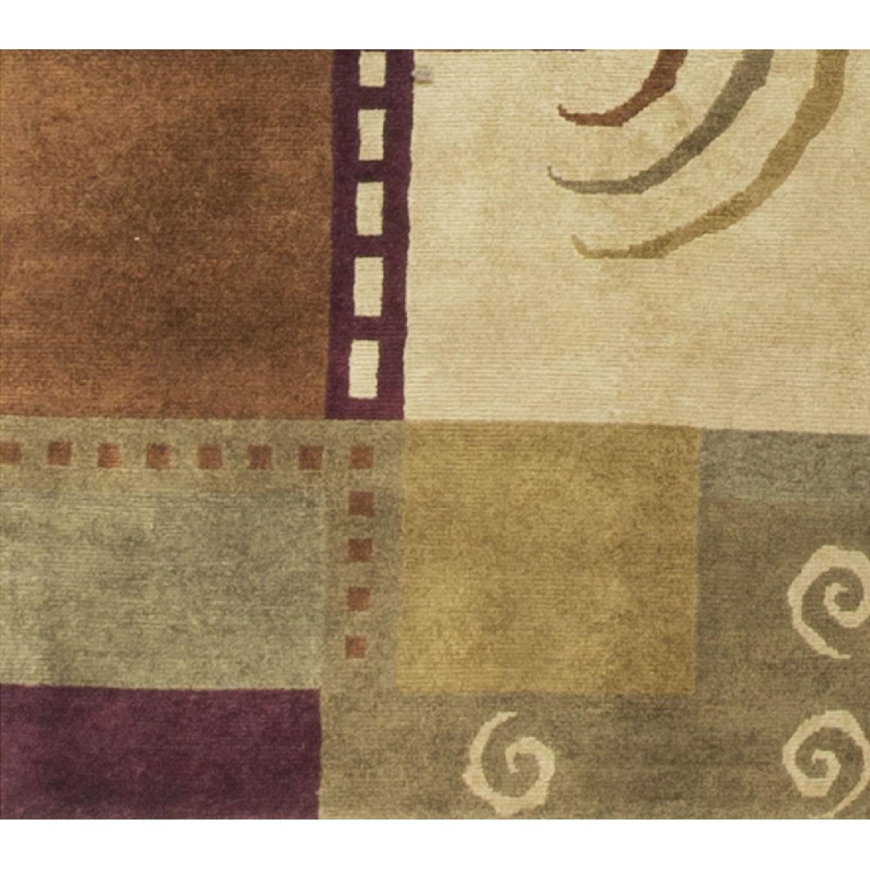 Modern Contemporary Hand Knotted Wool Rug in Beige/Brown/Dark - image-3