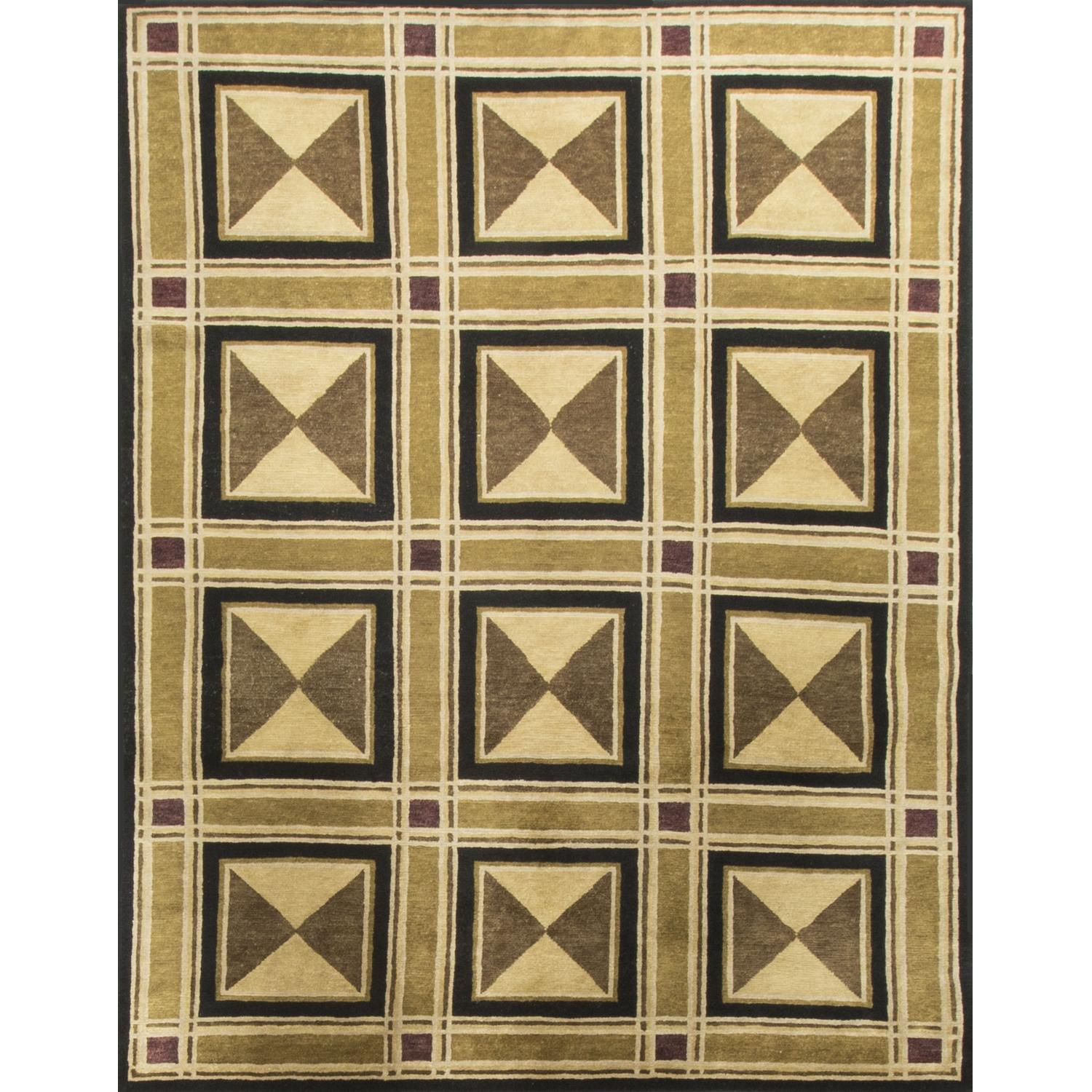 Modern Contemporary Hand Knotted Wool Rug in Black/Beige/Brown - image-0
