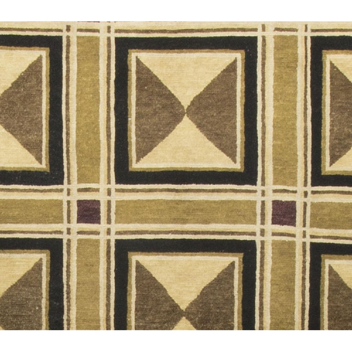 Modern Contemporary Hand Knotted Wool Rug in Black/Beige/Brown - image-2