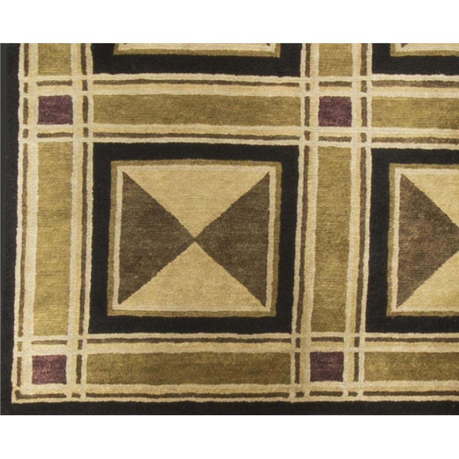 Modern Contemporary Hand Knotted Wool Rug in Black/Beige/Brown - image-3