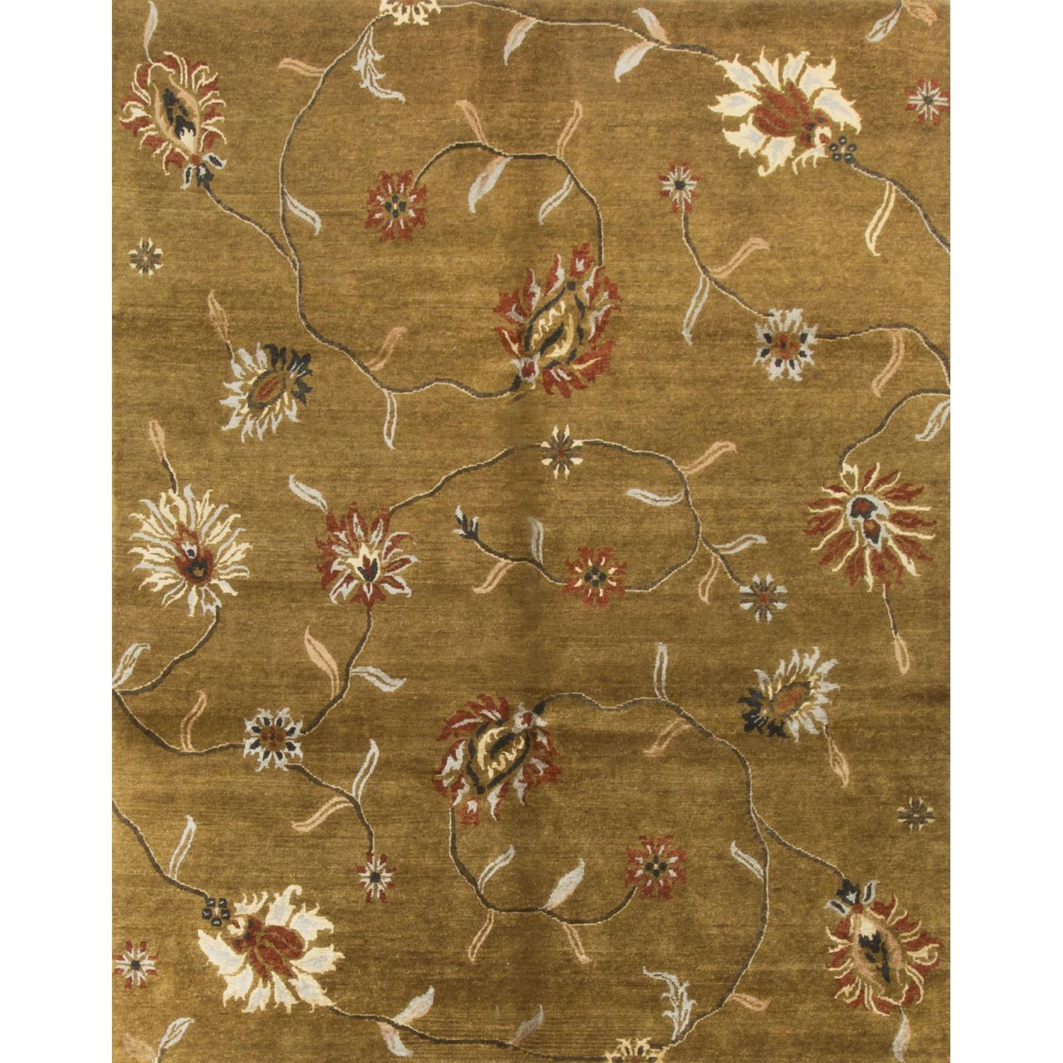 Modern Contemporary Hand Knotted Wool Rug in Gold/Multi - image-0